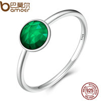 BAMOER Authentic 925 Sterling Silver MAY DROPLET RING Rich Oyal Green Crystal Finger Ring Women Wedding