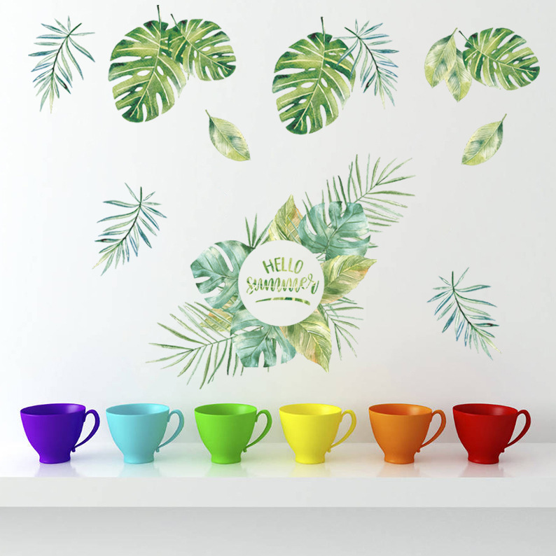 % Green leaves plant wall stickers for living room bedroom kitchen vinyl wall decals self-adhesive removable wallpaper diy decor