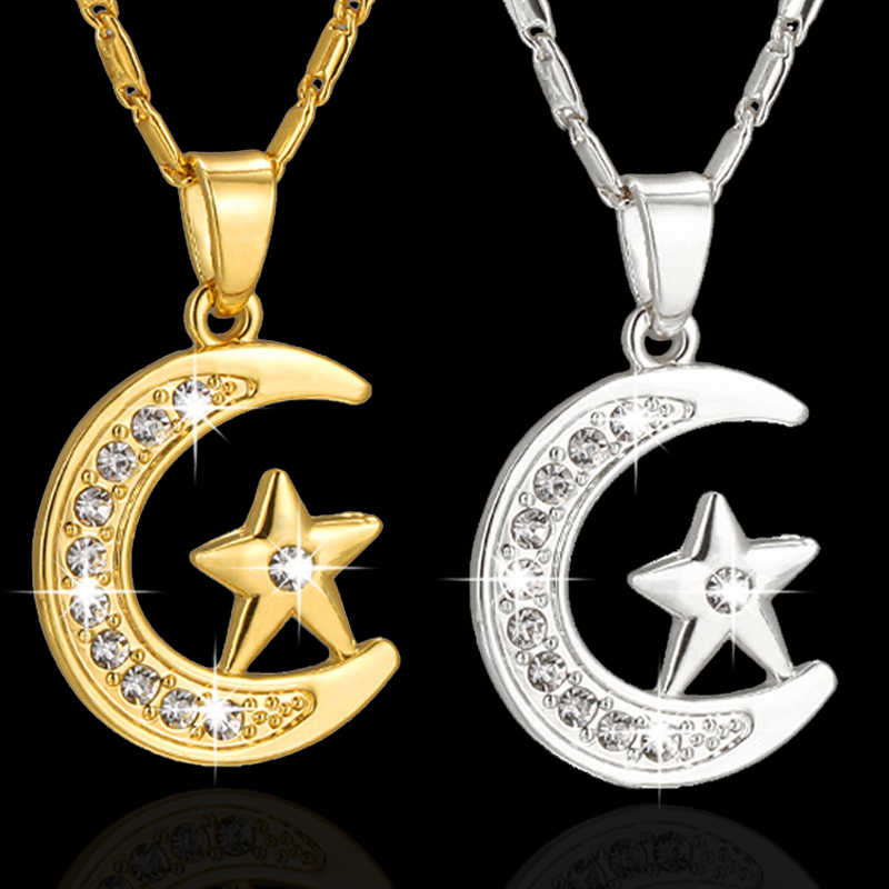 SONYA New Brand Muslim Crescent Pendant Necklace Silver/Gold Color Cubic Zirconia CZ Islam Moon Star Jewelry Women Gift