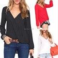 Blusa Feminina Primavera Verão 2015 Hot Chiffon Camisa Mulheres Blusas Preto Branco Vermelho das Mulheres Tops Moda Plus Size Alta qualidade