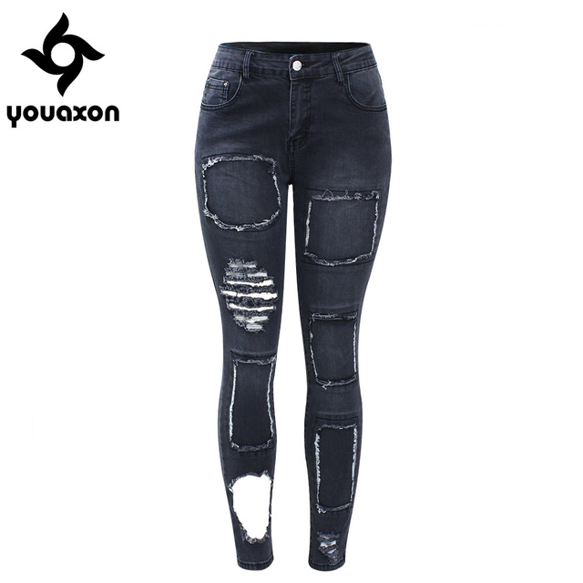 ce4878b184 2098 Youaxon Black Patchwork Jeans New Women`s Mid Waist Torn Stretchy Denim  Trousers Ripped Skinny Jeans Woman Free Shipping
