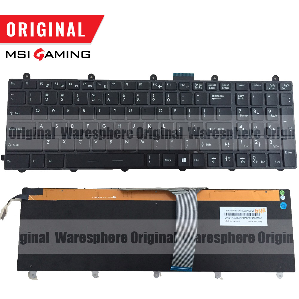 New And Original UI Colorful Backlit Keyboard For MSI GT60 GT70 GE70 GE60 MS-1762 UI V139922AK