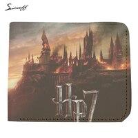 Handmade Harry Potter 7 Purse Women And Men Genuine Leather Wallet Harry Potter Hogwarts School Short