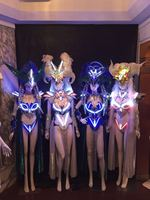 Led Luminous Sexy Women Ballroom Costume LED DJ Nightclub Party Catwalk Show Evening Dress Clothes For Dancing Stage Show