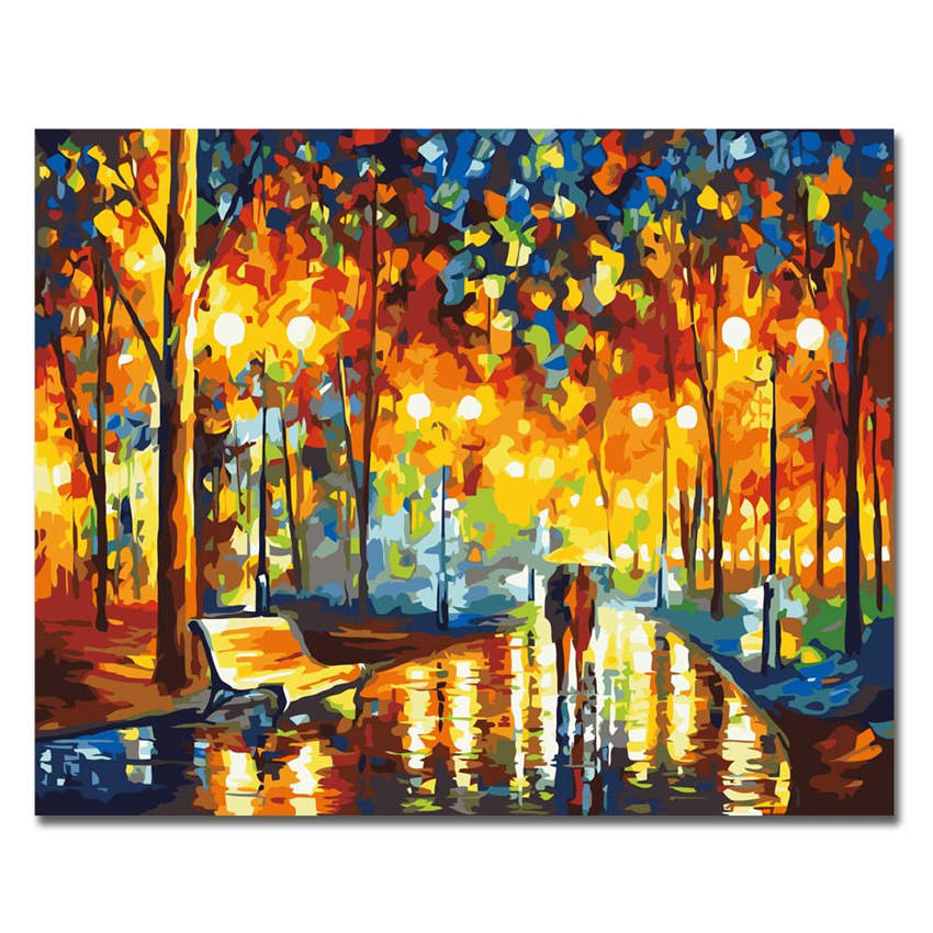 Us 2 49 50 Off Ween Walking In The Street Abstract Painting Diy Digital Scenery Painting By Numbers Modern Sea Wall Art Picture For Home Decor In