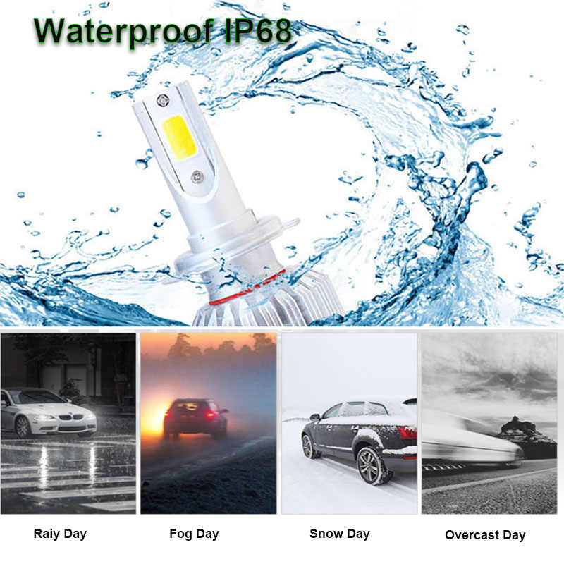 2Pcs Infitary H7 LED H4 Auto Car Headlight 9005 9006 H3 H13 H8 880 H27 9004 9007 H11 LED H1 C6 72W 7600LM 6000K Automobile Bulb