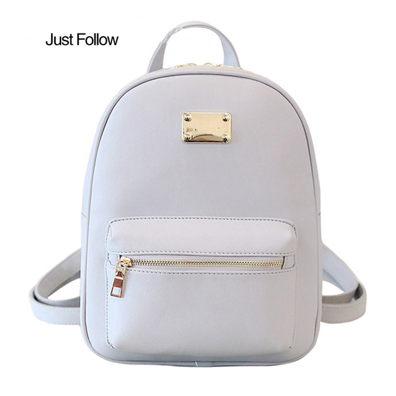 PU Leather Womens Backpacks Female Back Pack Women Backpack School Girls Bags 2018 New Famous Brand mochilas By Just Follow