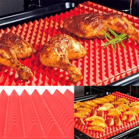 Non Stick Silicone Barbecue Grill Mats BBQ Pyramid Pan Fat Reducing Slip Oven Baking Tray Sheet