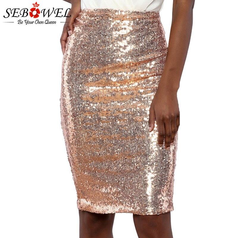 9026ae30a Faldas de tubo con cremallera de lentejuelas de mujer SEBOWEL 2019 nueva  moda Sexy mujer fiesta ...