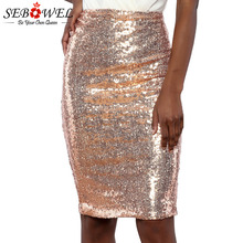 76a8ec127e SEBOWEL Woman Sequin Zipper Pencil Skirts 2019 New Fashion Sexy Lady Female  Party Night Club Tight