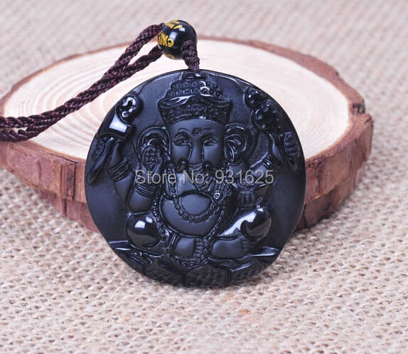 Natural Black Obsidian Carving Elephant Nose Wealth God pendant free necklace obsidian Blessing Lucky pendants fashion Jewelry