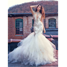 Noiva Custom Made White/Ivory Organza Applique Beading Sexy Lace Mermaid Wedding Dress Vestido De Casamento