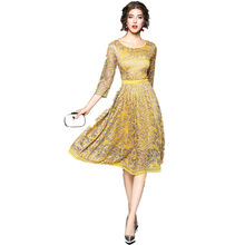 dd8b0d90b7e JSXDHK Elegant Vintage Women Lace Dress 2018 Runway Summer Crochet Hollow  Out Yellow Lace Female Party Dress Vestidos