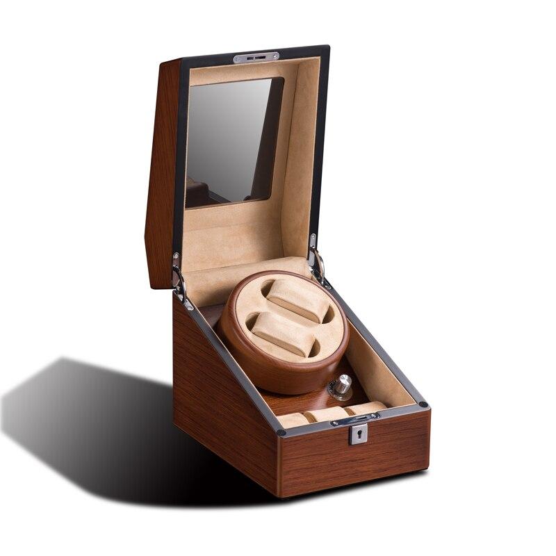 Montre Enrouleur 2 + 3 automatique montres affichage boîte organisateur main horloge poussière du cabinet/mangetic preuve en bois + velours serrure Cadeau paquet