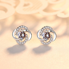 Korean Version S925 Silver Ear Studs Female Diamonds, Zircon,  Rotating Earrings Temperament Simple Personality Accessories