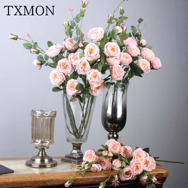 3pcs/lot 6 Heads Silk Roses Artificial Flowers Decoration Fake Flower For Meeting Home Wedding Party Garden Decor 8 Colors