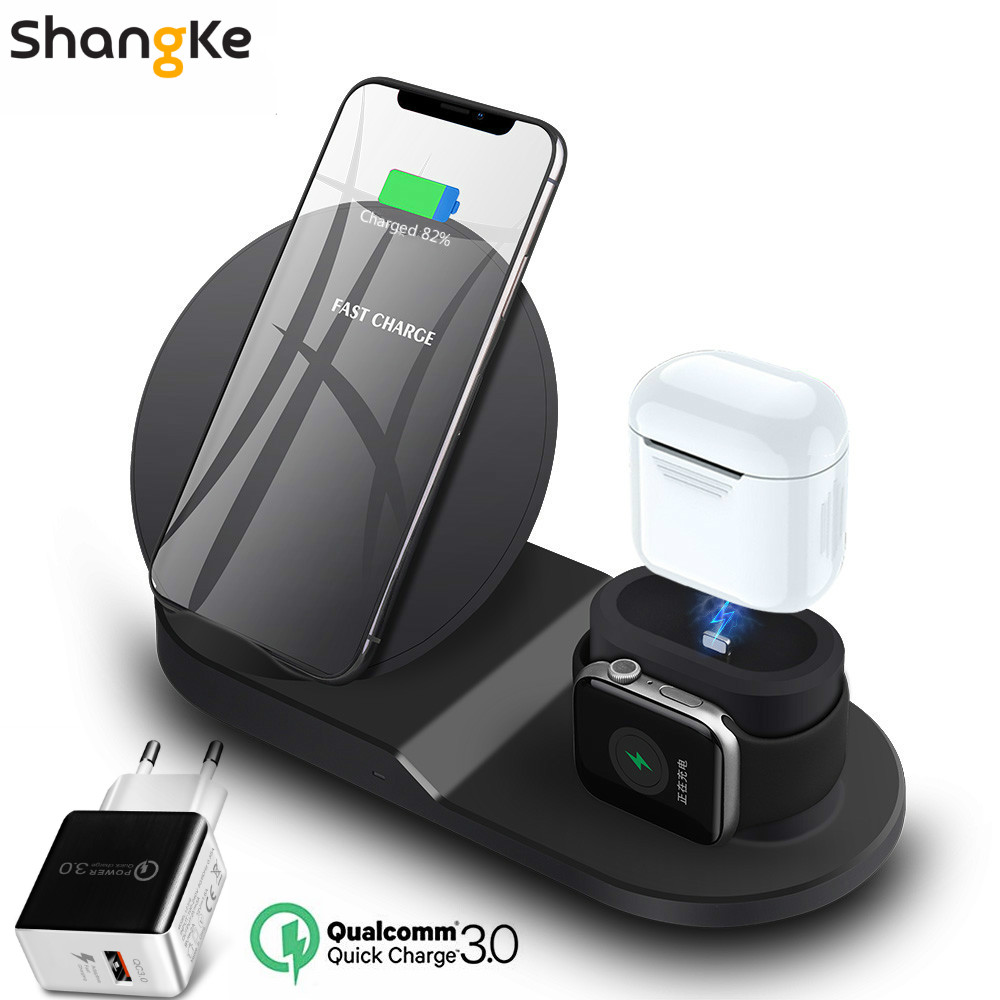 Wireless Charger Stand for iPhone AirPods Apple Watch, Charge Dock Station Charger for Apple Watch Series 4/3/2/1 iPhone X 8 XS 16