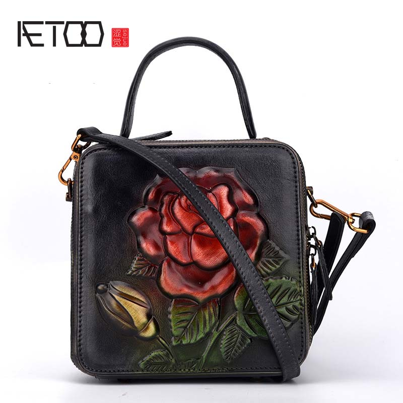 AETOO New handbags fashion retro leather handbags rose imprint ladies diagonal handbag mini shoulder bag