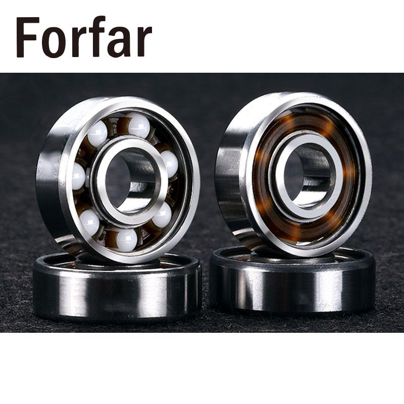 Forfar 8 Pcs/Lot 608RS Ceramic Ball Inline Skates Scooter Wheel Spare Bearings Drift Plate Silver