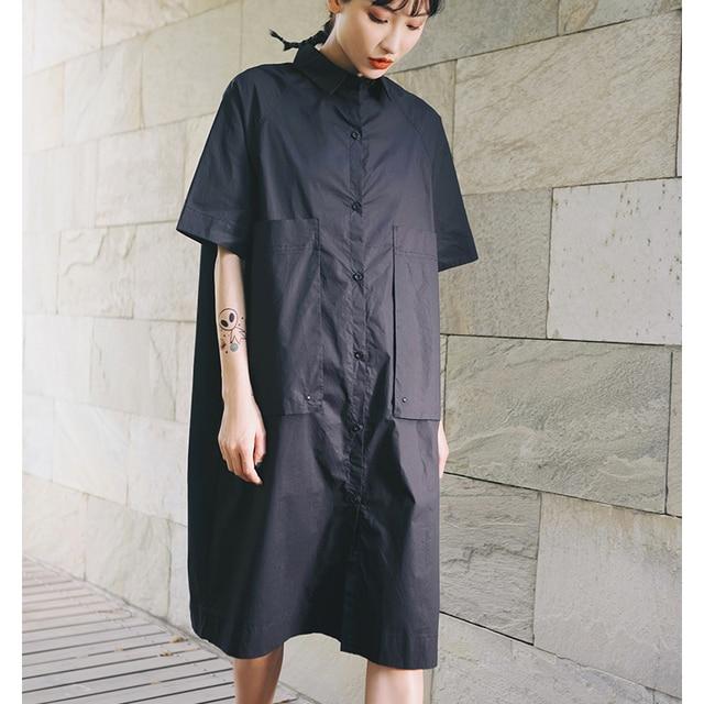 Z-ZOUX Women Dress Half Sleeve Single Breasted Cotton Black Shirt Dress Loose Leisure Summer Dresses Womens Casual Wear 2019 New