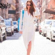 Shein дамской одежды платья осень длинные платья белый поясом three четверти длины рукава карман разрез стороны shirt dress