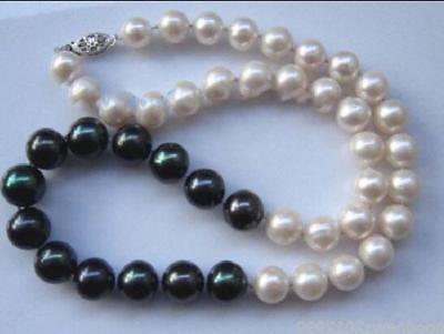 AAA 9-10mm naturel mer du sud noir blanc collier de perles 18AAA 9-10mm naturel mer du sud noir blanc collier de perles 18
