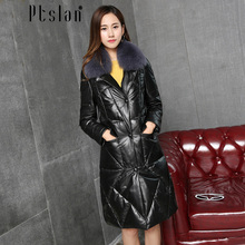 Ptslan Women's Genuine Leather Jacket Real Lambskin Down Jacket Long Coat