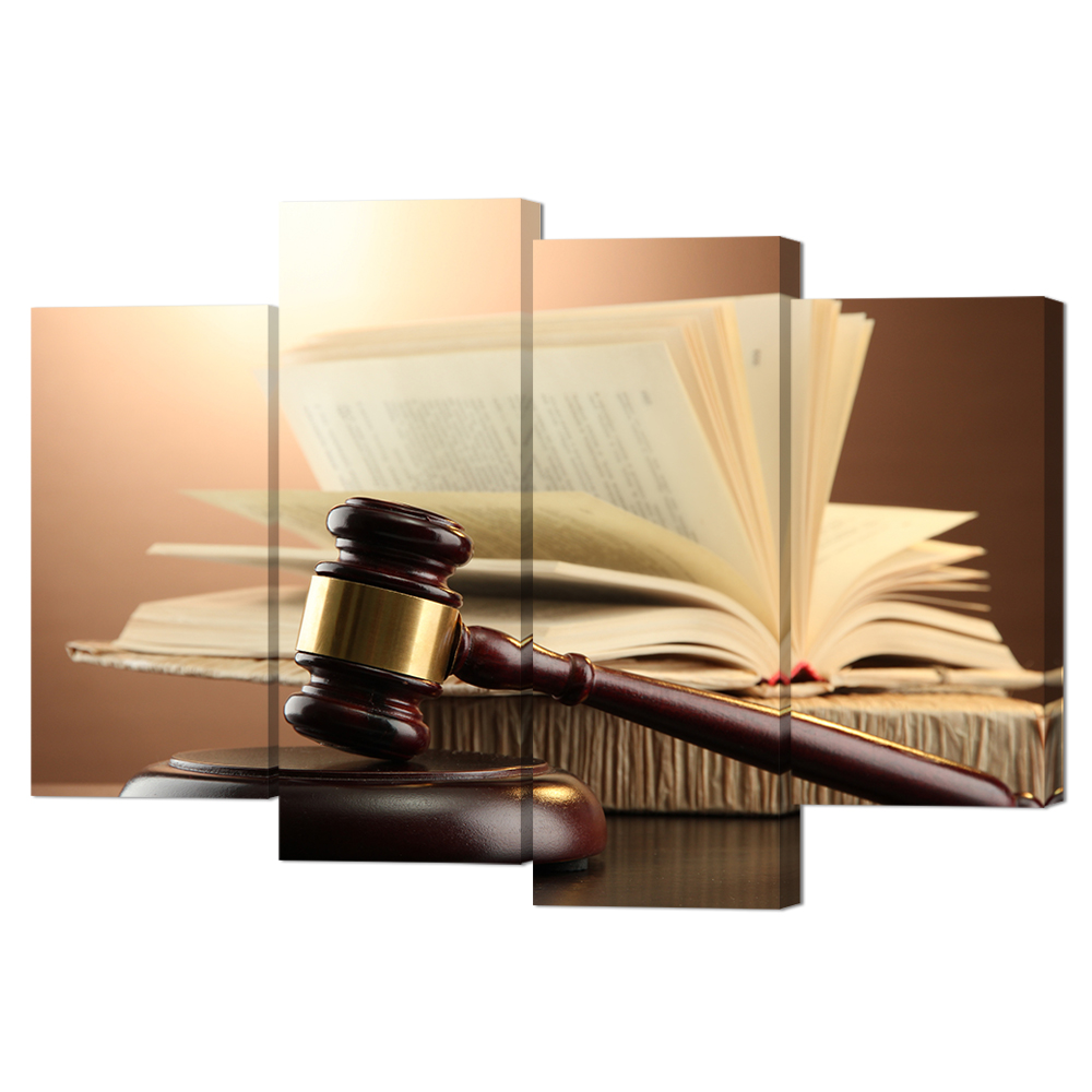 Best Buy 4 Piece Canvas Wall Art Wooden Gavel And Books On Brown