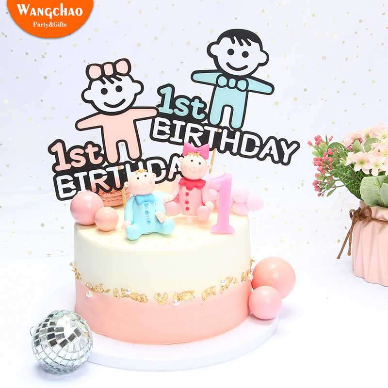 New Arrivals 100 days One Cake Topper 1st Birthday Decoration Baby Shower Party Supplies for Boy Girl Cupcake