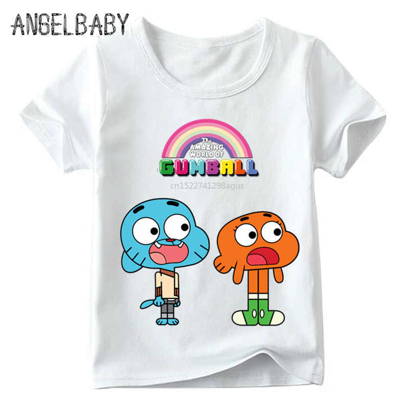 Crianças Dos Desenhos Animados O Incrível Mundo De Gumball Impressão Funny T shirt Do Bebê Meninos/Meninas Verão Tops Crianças T-shirt Bonito, ooo5125