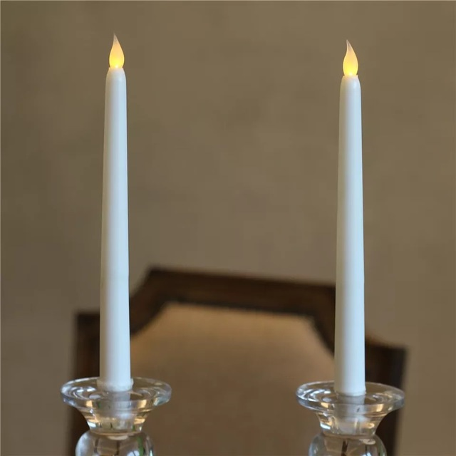 10pcs Led Battery Operated Flickering Flameless Ivory Taper Candle Lamp Candlestick Xmas Wedding Table Home Church