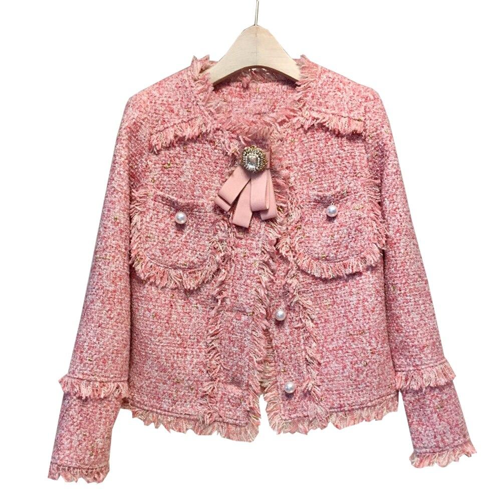 Dames Mode Courtes Mince 2019 pink Gris Rose Nouvelle Femmes Vestes Automne Gland Manteau Veste Perles Top Outwear Gray Poches Tweed Boutons Sx6qzwx5C