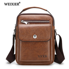 WEIXIER Fashion Men PU Leather Shoulder Bag High Quality Travel Crossbody Messenger Casual Black Business Mens
