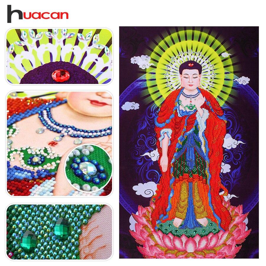 Huacan Special Shaped Buddha Diamond Mosaic Embroidery Wall Art Painting Resin Rhinestone Pasted Diamond Painting Handmade Craft
