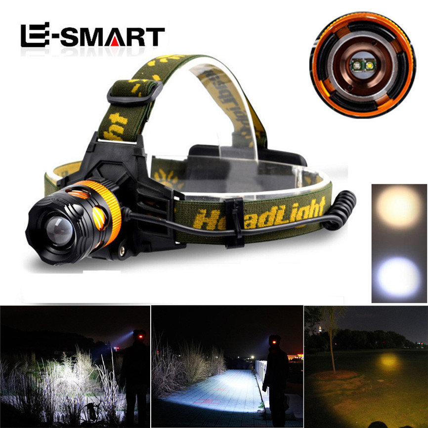 Super New Arrival 2000 Lm CREE XM-L XML T6 LED Headlamp Headlight Head Torch 2X18650 +Charger Dropshipping A35 original boruit 3x cree xm l xml t6 led 5000luems rechargeable headlamp head light 2x 18650 battery charger car charger