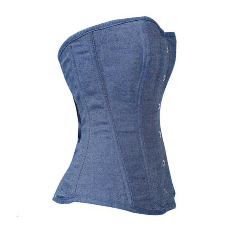 d727e9153e ... Wonder Beauty Blue Denim Corsets Sexy Waist Trainer Lace Up Boned  Lingerie Overbust Corsets with Thong ...