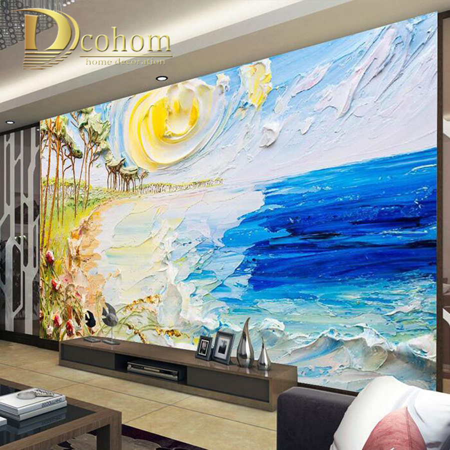 Customize Size 3D Seaside Abstract Painting  Bedroom TV Background Wall Paper Home Decor Living Room Non-woven Mural Wallpaper