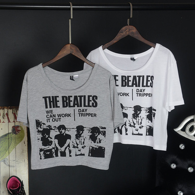 d5330361306 Classic The Beatles Band Print Short Sleeve Crop Top T Shirts For Women