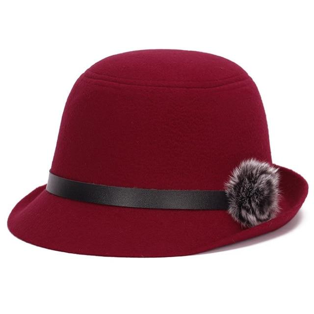 da46b27a4 US $7.77 40% OFF HT1212 Retro Elegant Women Fedora Hats Wool Felt with  Rabbit Fur Ball Imitation Wool Caps for Women Autumn Winter Female Hats-in  ...