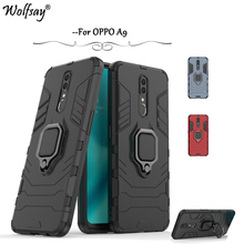 OPPO A9 Case Shockproof Armor Metal Finger Ring Holder Hard PC Phone For Back Cover Kickstand Fundas