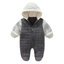 New Brand Baby Boys Hooded Winter Romper Newborn footies