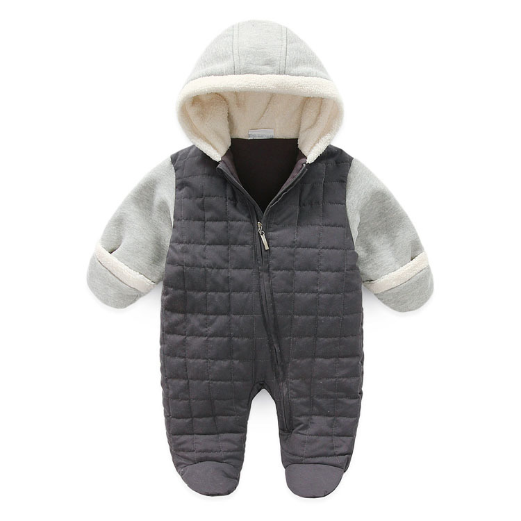 New Brand Baby Boys Hooded Winter Jumpsuit Newborn Baby footies