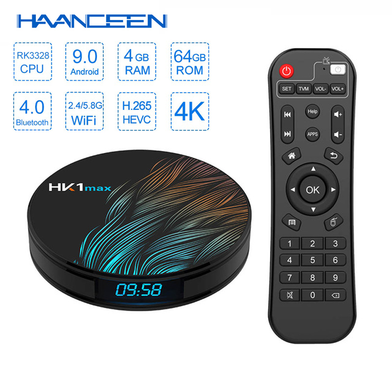 Android 9.0 HK1 Max TV Box 4GB 64GB RK3328 1080P H.265 4K 60fps BT4.0 Google Play Store Netflix Youtube Set Top Box Mini Pc