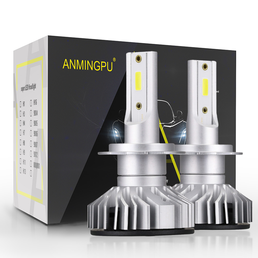 ANMINGPU 2pcs COB 10000LM/Pair Headlight Bulbs H7 Led Bulb Canbus Led H4 H1 H3 H11 9005/HB3 9006/HB4 Auto Headlamp Fog Light 12V h1 h3 h7 h11 880 9005 9006 h4 cob led car headlight bulbs auto led headlamp 6000k fog lights drl auto headlamp 12v 24v