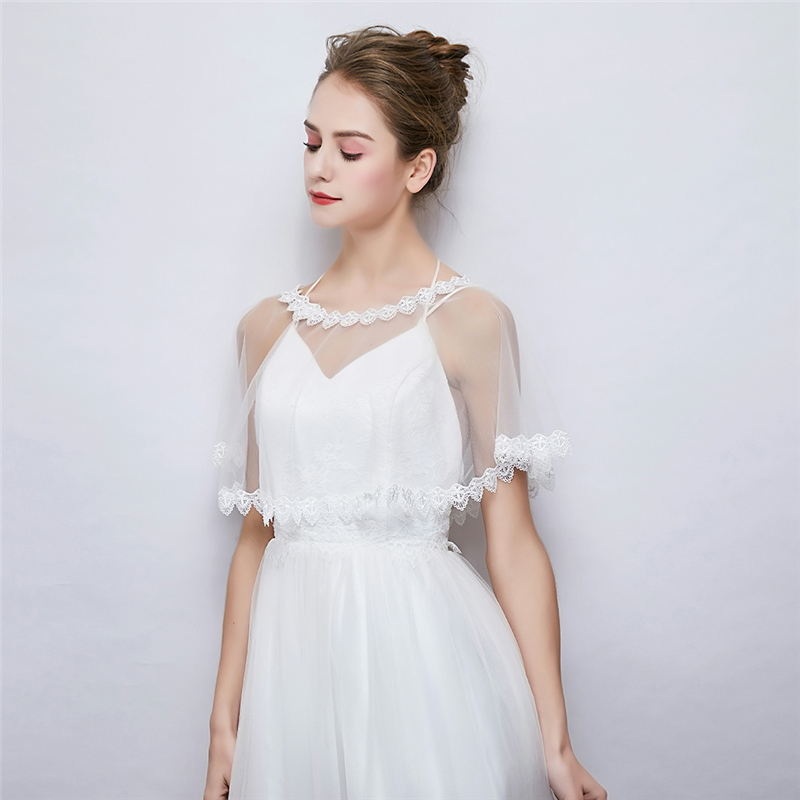 Modern Women Wedding Dress Wrap Bolero Soft Lace Cover Up Jacket Evening Cape Coat Accessories In Jackets