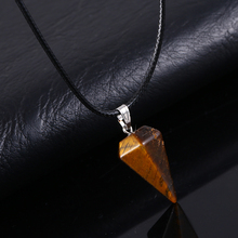 HOT! Cone Column Necklace Natural Stone Pendant Chains Crystal Necklace For Women
