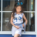 New 2017 Girls Summer Set Children Cotton Print Two-piece Set Kids Shorts and Vest Toddler Shirt Pants Bow-knot Waistband,3-14Y