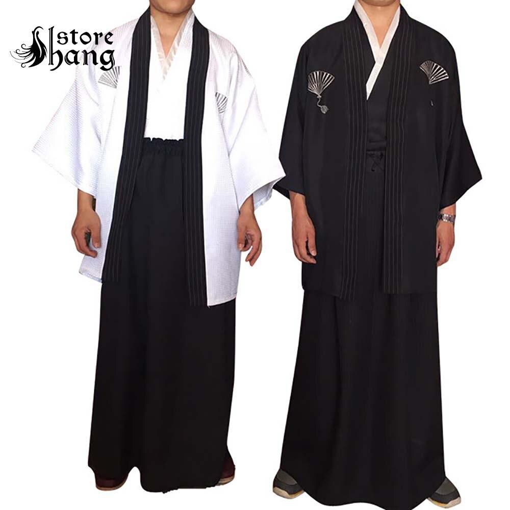 Adulte japonais traditionnel samouraï Kimono guerrier Robe Hakama pantalon tenue ancien épéiste Roleplay Halloween Costumes pour hommes