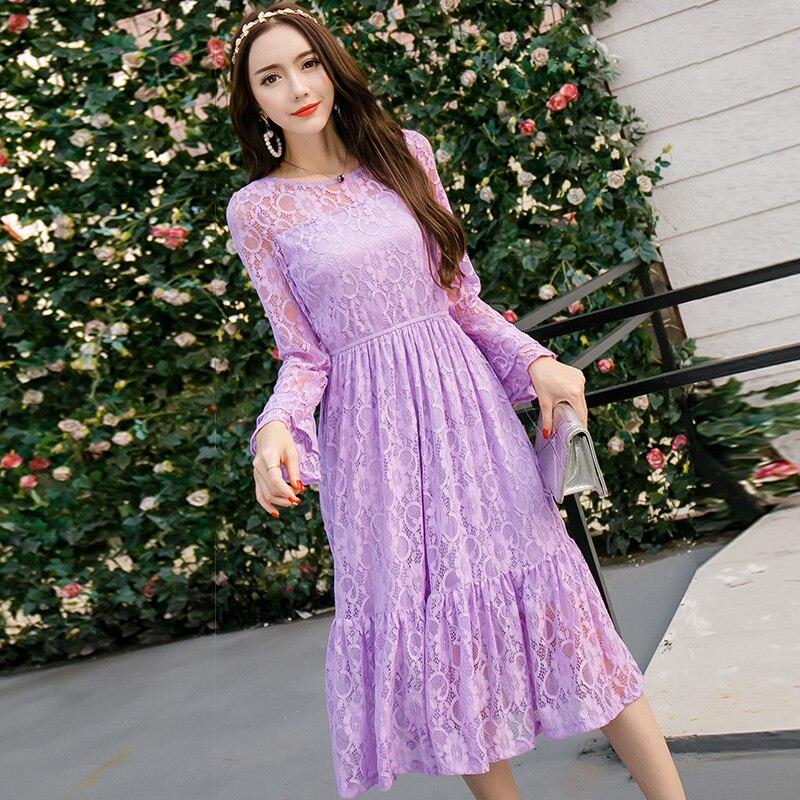 New 2017 Women Plus Size Lace Long Dress Pinched Waist