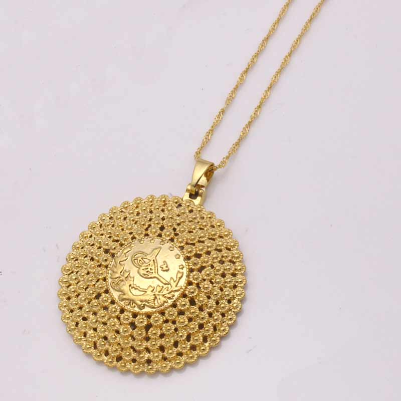 ZKD  islam muslim Turks round Pendant Necklace Arab Coin for Women Gold Color Turkey Coins Jewelry